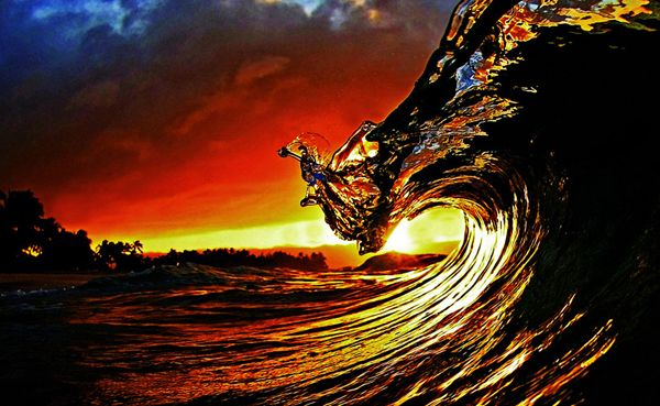 Sunset With Sea Wave Tap To See More Breathtaking Beach: Real Tidal Wave At Sunset.hawaii.