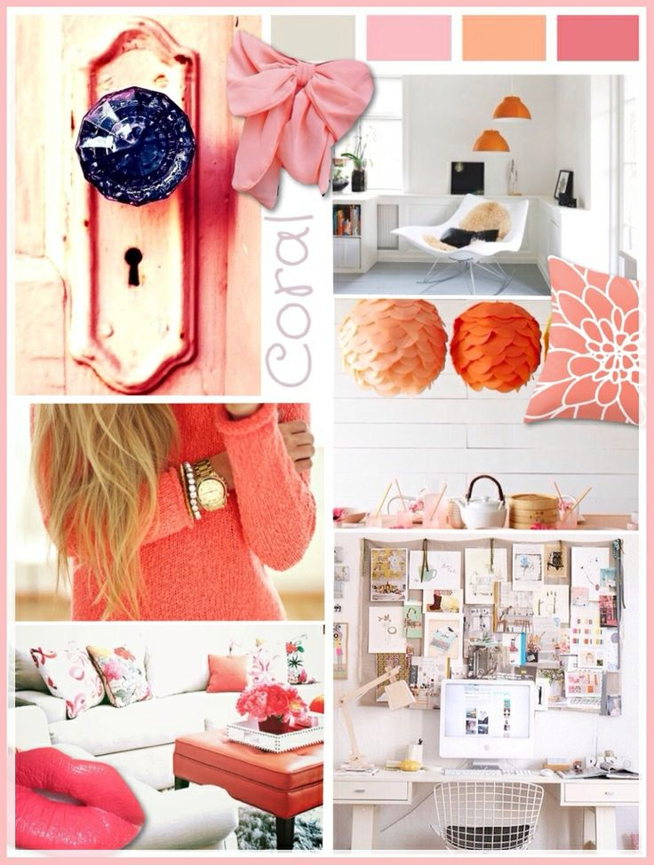 Coral moodboard styling