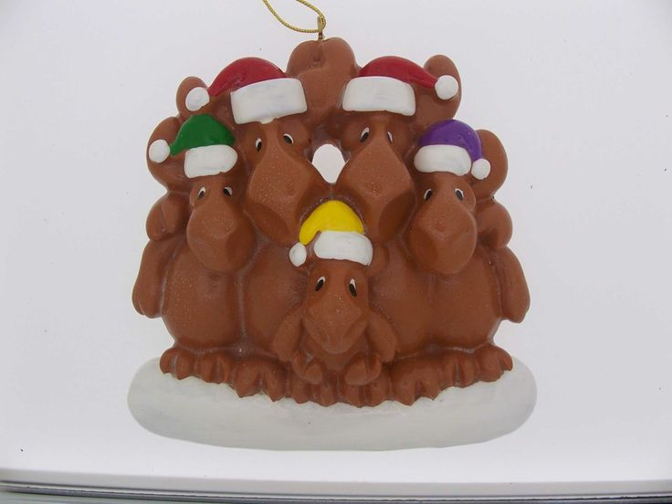 Family of 5 Moose Christmas ornament