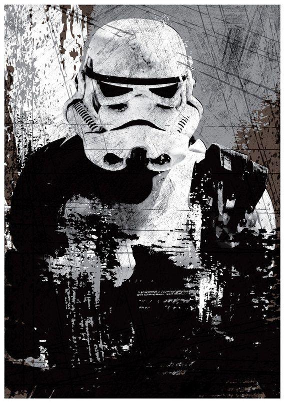 Star Wars All Black Darth Vader Stormtrooper and por Posterinspired