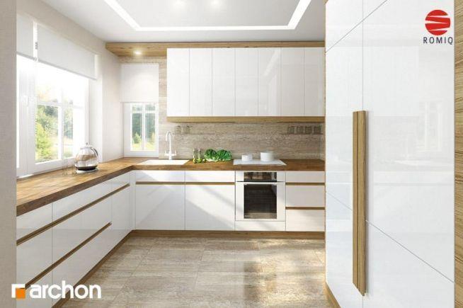 Zobacz zdjęcie Biała kuchnia z drewnianym blatem. Rzut 1 w pełnej rozdzielczości
