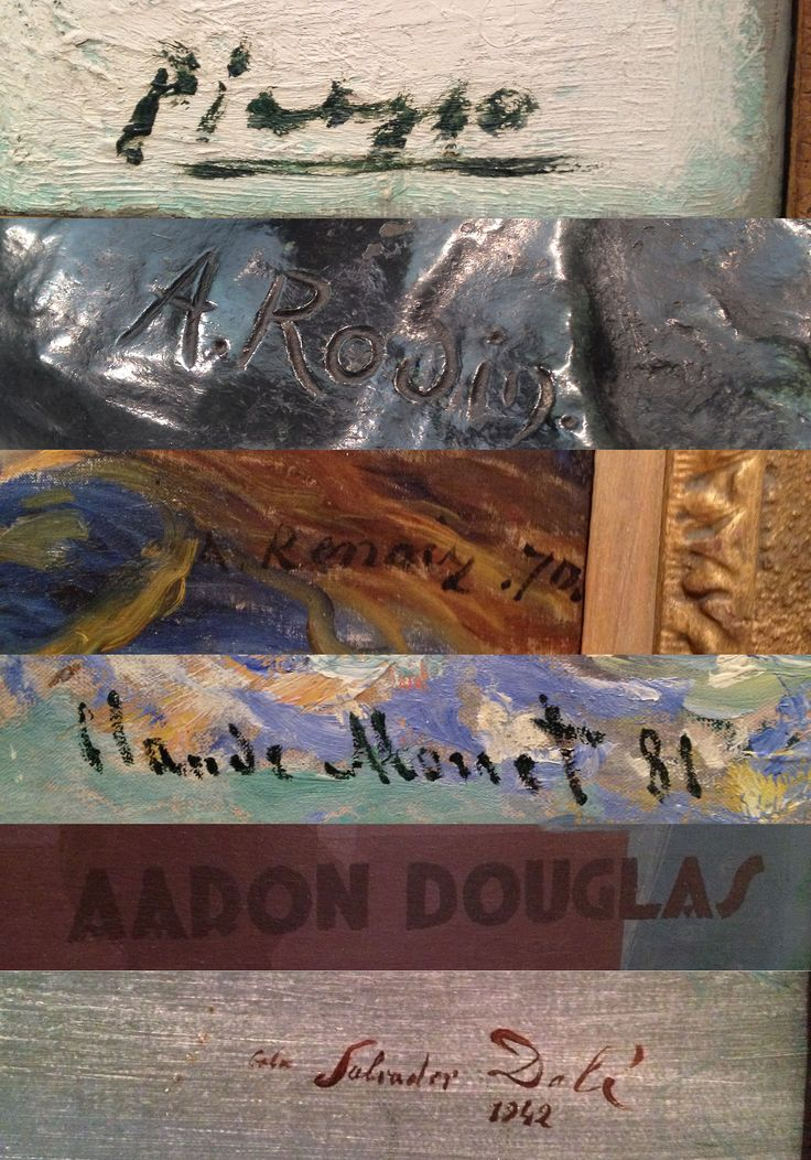 Art - Signatures In order of appearance: Pablo Picasso - Spanish, 1881-1973 Auguste Rodin - French, 1840-1917 Pierre-Auguste Renoir - French, 1841-1919 Claude Monet - French, 1840-1926 Aaron...