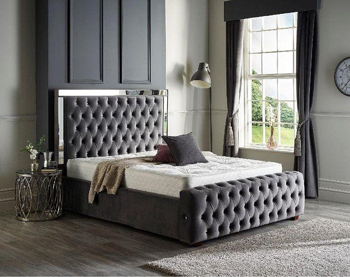 Park Lane Plush Velvet Bed Frame Etsy In 2020 Upholstered Bed