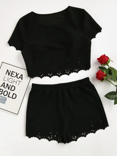 Scallop Laser Cut Crop Top With Shorts