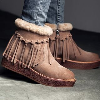 Genuine Suede Tassel Short Boots