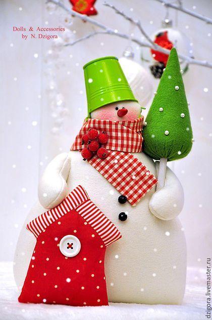 Новый год 2016 ручной работы. Волшебный снеговик. Дзигора Наталья. Интернет-магазин Ярмарка Мастеров. Снеговик, снеговик в подарок, красный