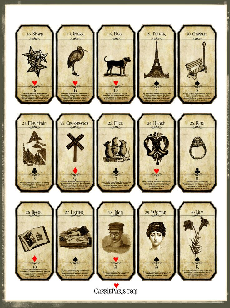 Lenormand Flashcards 16-30 - free to print & use!