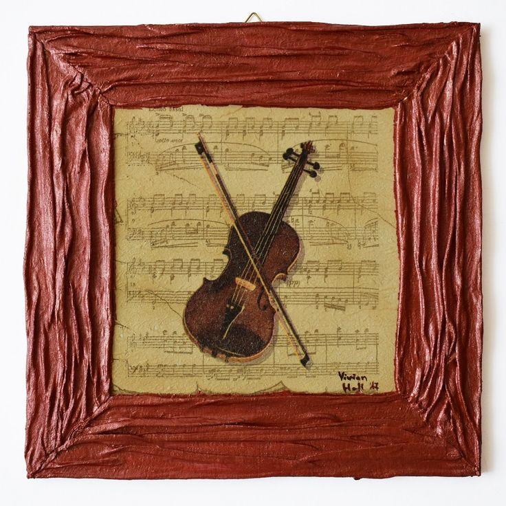 Music series – The violin (Zene sorozat – A hegedű) - 25 x 25 cm, 2017, https://www.vivienholl.com/termek/zene-sorozat-a-hegedu/ #paverpol #napkin #szalvéta #violin #hegedű #music #zene #pentart #vivienholl
