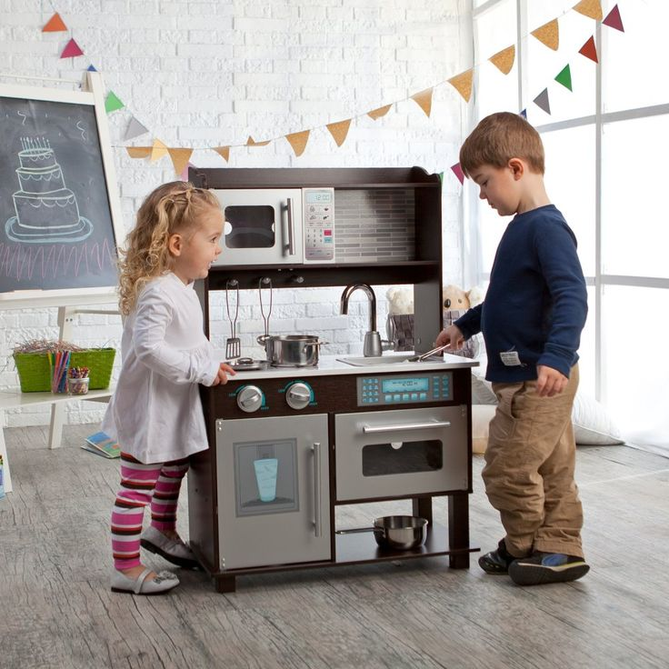 Delightful KidKraft Espresso Toddler Play Kitchen With Metal Accessory Set   53281    Play Kitchens At Hayneedle