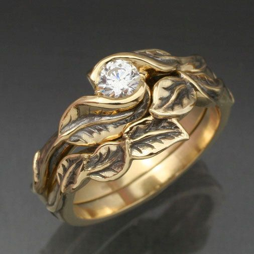 Gold DELICATE LEAF Wedding Ring Set - Engagement Ring and Matching Wedding Band.  This ring set with Natural Diamond. $1,730.00, via Etsy.