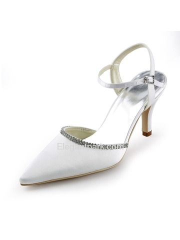 White Pointy Toe Stiletto Heel Satin Wedding Evening Party Shoes (EP11115)