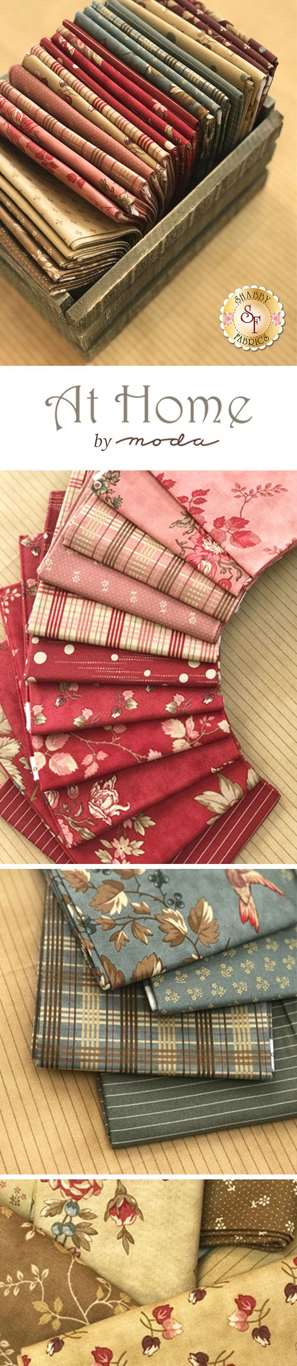 At Home by Blackbird Designs is a lovely collection filled with beautiful prints that will blend with any decor from Moda Fabrics available at Shabby Fabrics.