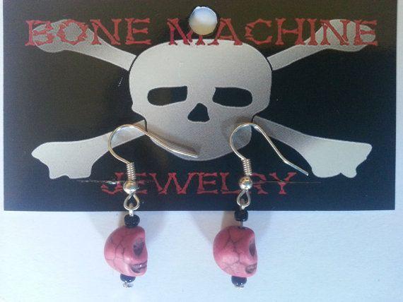 Bright Pink Howlite Skull Earings by BoneMachineJewelry on Etsy, $7.50
