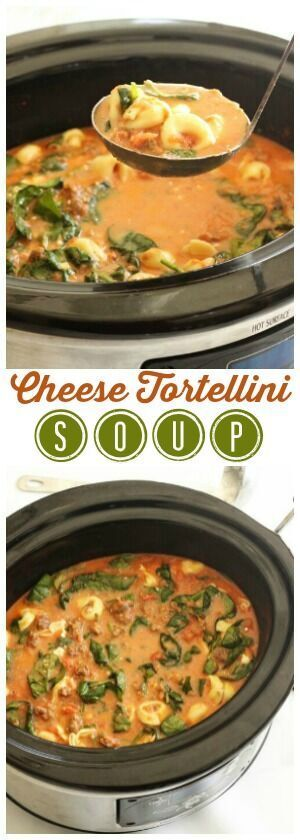 This Cheese Tortellini Soup is a flavorful, easy slow cooker meal. Tortellini, sausage, and spinach in a creamy tomato soup and slow cooked to perfection. via @favfamilyrecipz