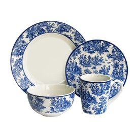 16 Piece Waverly Country Life Dinnerware Set in Blue