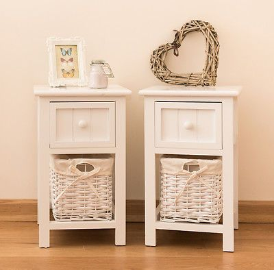 Pair of Shabby Chic White Bedside Units Tables Drawers with Wicker Storage New in Home, Furniture & DIY, Furniture, Bookcases, Shelving & Storage   eBay