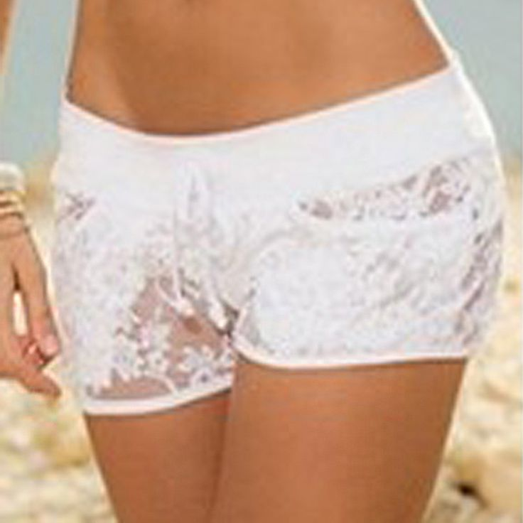 Women Sexy Shorts 2016 Summer Bohemian Ladies Elastic Waist Lace Crochet Hollow Out Drawstring Solid Shorts Plus Size Hot Shorts