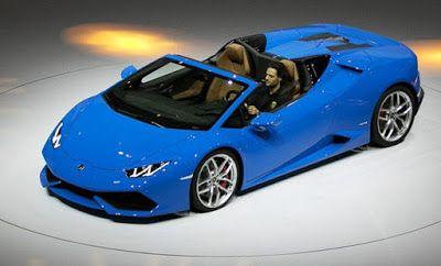 Lamborghini Huracan Spider. Eksotis Italia ini didukung oleh naturally aspirated 5.2-liter V10 yang menyediakan 610 tenaga kuda dan £ 412-ft torsi.
