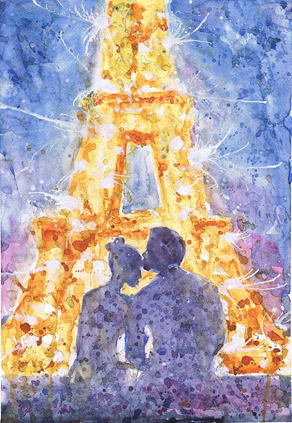 Watercolor painting by Valentina Ra Paris, art, watercolor painting, night, couple , love, firework, eiffel tower, romantic, print, Illustration, wedding gift, valrart