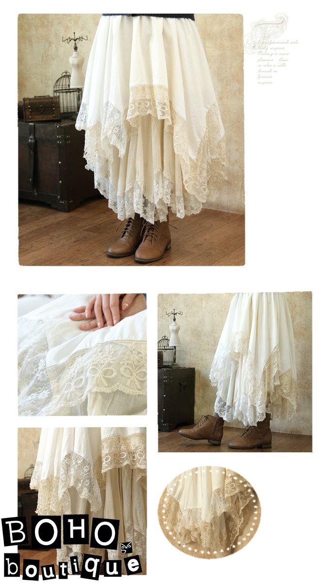 Расклешенная многослойная юбка с кружевами по низу