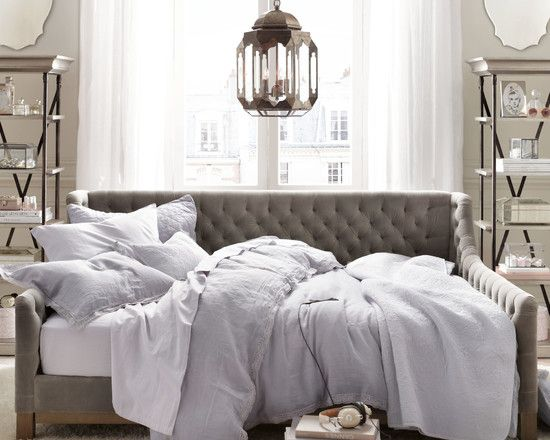 full size white upholstered bed-guest bedroom LOVE this day bed, could i build this!