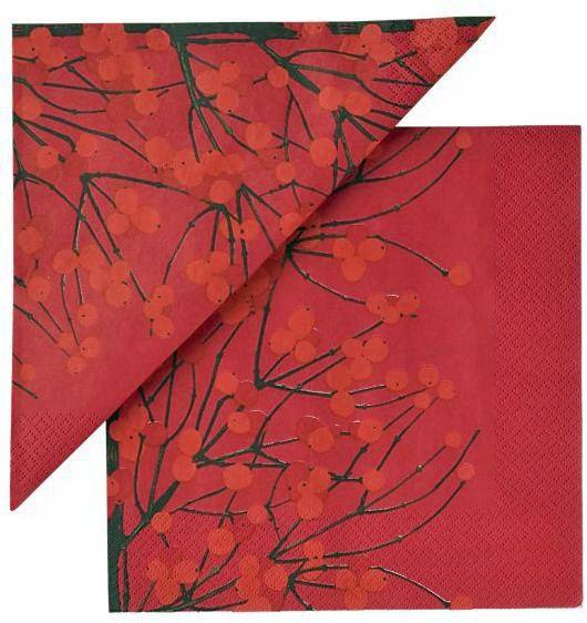 Marimekko 'Lumimarja' paper napkins in red, orange and brown in large