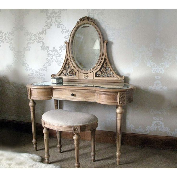 Antoinette Carved Oak Dressing Table with Mirror. French Dressing Table. Shabby chic dressing table.