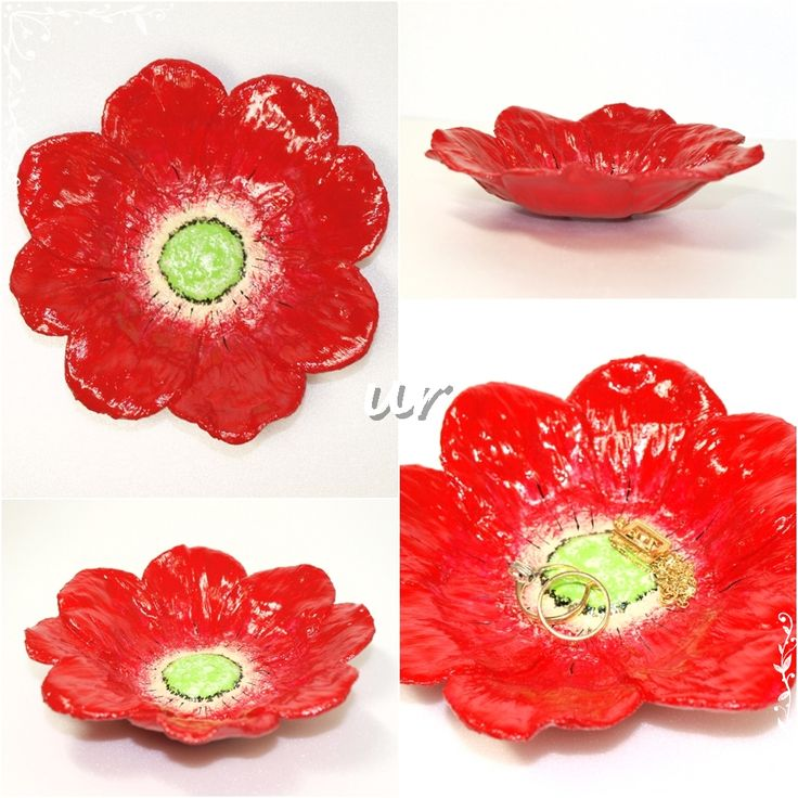 Flower plate - paper clay, acrylic paint, varnish