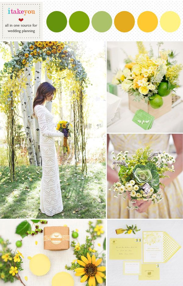 lime green mustard & yellow wedding colours palette | green yellow summer wedding ideas | itakeyou.co.uk