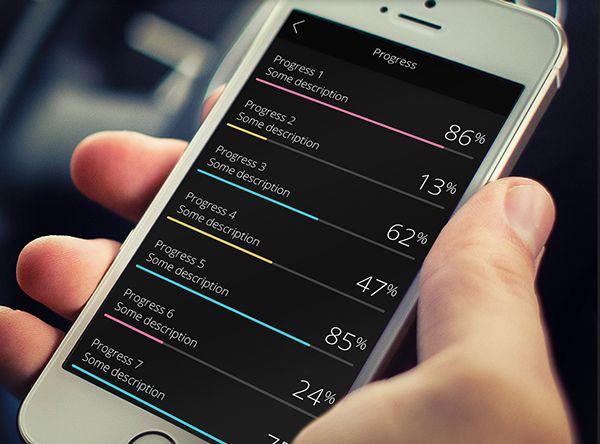 Progress Bar iOS 8 Colored UI Sets