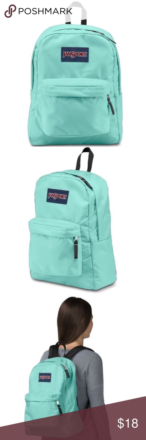 """Jansport SuperBreak Aqua Dash Backpack Brand new WITHOUT tags, never been used. This JanSport SuperBreak Aqua Dash Backpack is the perfect color! Kind of a mix between Tiffany Blue & Mint Green. Featuring its classic silhouette, the JanSport SuperBreak is ultralight for everyday use. One large zippered compartment, a small front zippered pocket with organizer. Padded adjustable shoulder straps. Dimensions: 16.7"""" x 13"""" x 8.5"""". I also have the Coral Sparkle color available! Jansport Bags…"""