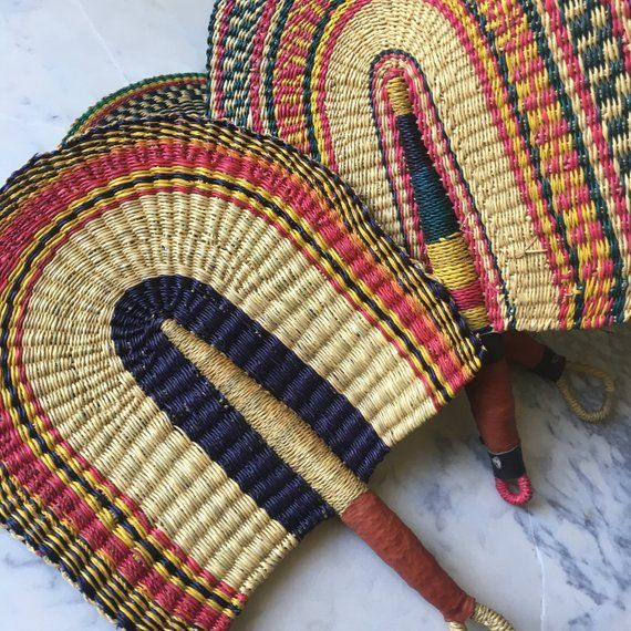"African Fan Burkina Faso Hand Woven Fan 16/"" Long"