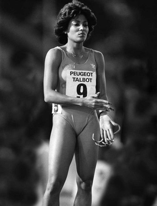 Florence Griffith Joyner.  Flo-Jo.  Getting ready for a track meet back in the 1980.