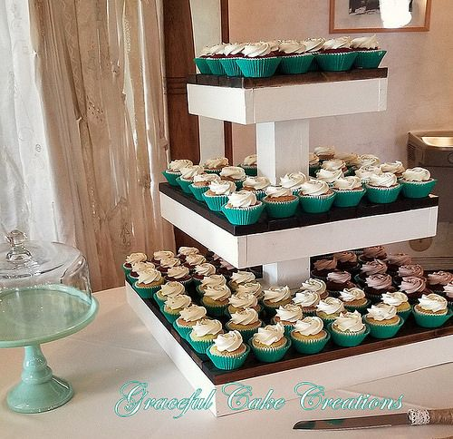Salzburg Creations Burgundy And Rose Gold Fireworks: CupCake Wedding In Mint Green And White