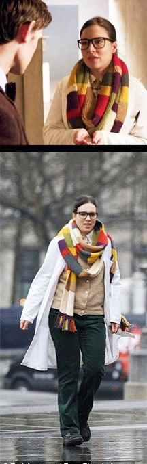 Ingrid Oliver in the Doctor Who 50th Anniversary special wearing the 4th Doctor's scarf