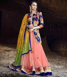 Buy Peach Embroidered Net Semistitched Lehenga Choli With Blouse lehenga-choli online