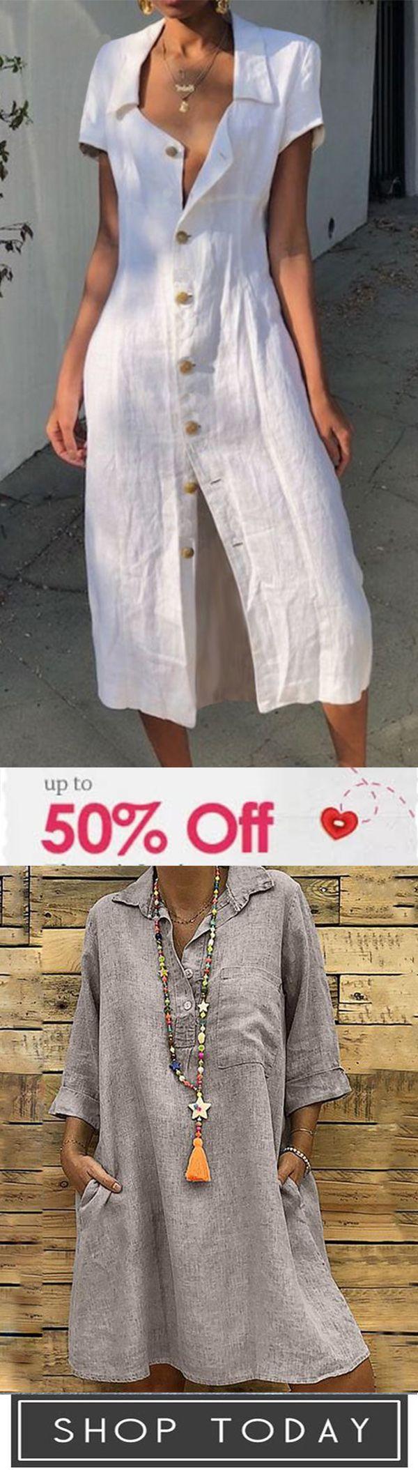 Super Sale Now !!! Women Daily Lapel Solid Color Dresses