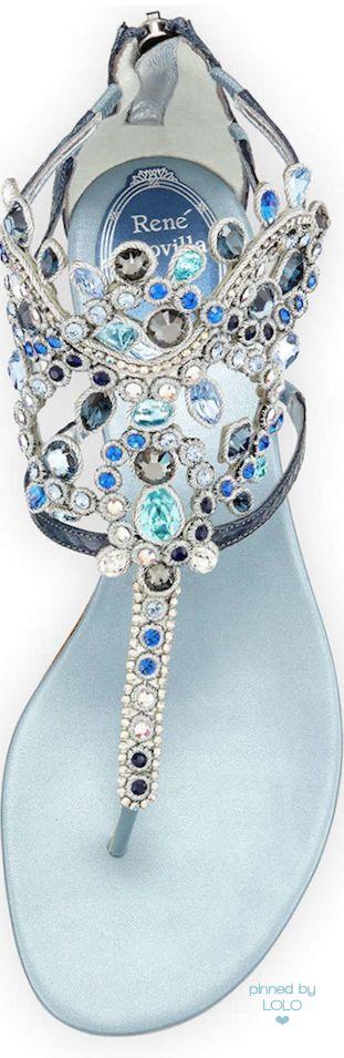 Rene Caovilla Crystal-Chandelier Thong Sandal   LOLO❤︎