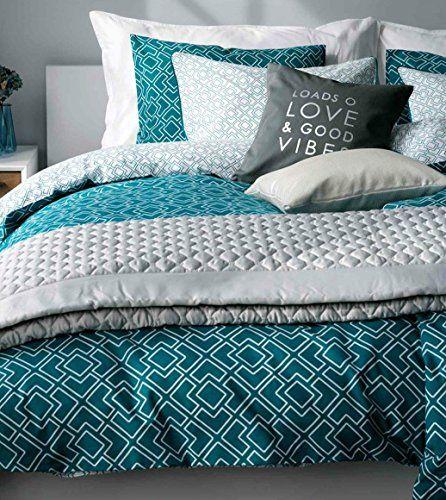 Emerald Geo Print Duvet Cover Cotton 3pc Set Modern