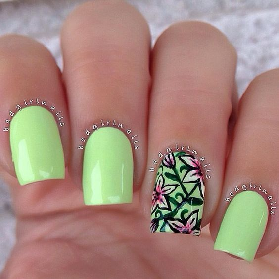 Apple green polish with floral designs!