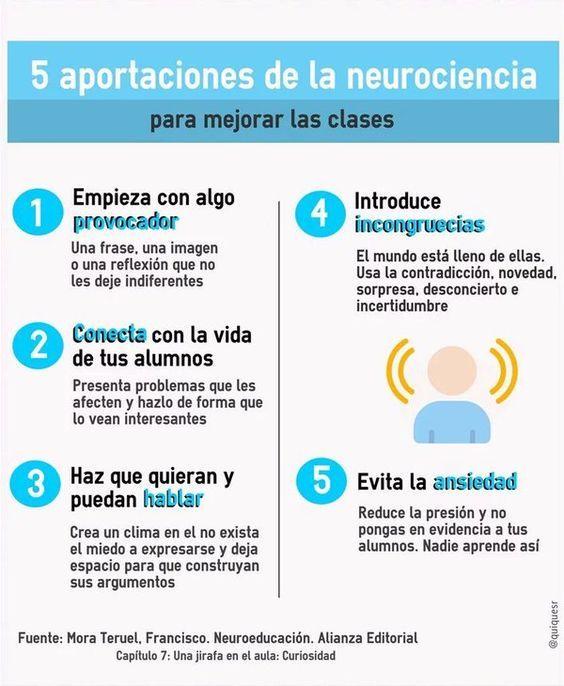 Cómo Mejorar tus Sesiones de Clase - 5 Consejos de la #Neuroeducación | #Infografía #Educación