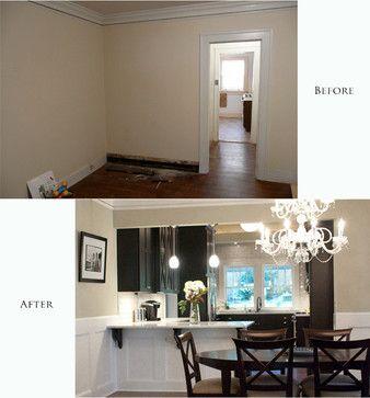 Half walls craftsman dining room and kitchen dining on for Dining room half wall ideas