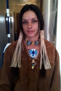 A big thanks to my customer for sending a photo of the Native American inspired buckskin hair wraps, that she purchased from me, in use.