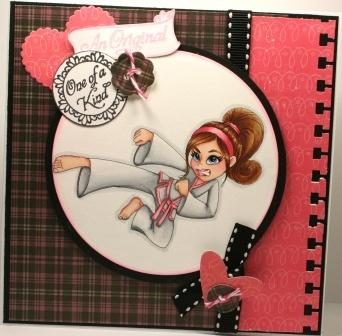 "Redonkadoodles.com - ""Karate Kick Girl"" Digital Stamp - Handmade Card Design By: Kim"