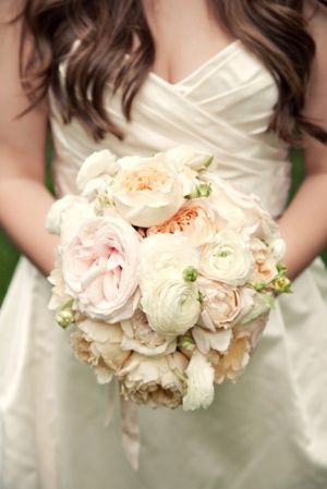 another potential bridal bouquet inspiration soft blush roses ranunculus and peachcoral garden roses