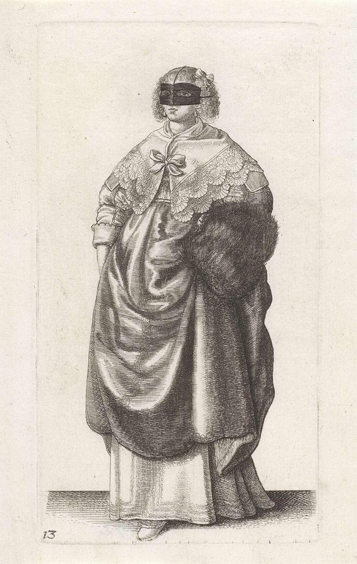 Wenceslaus Hollar | Engelse vrouw van stand met maskertje voor het gezicht, Wenceslaus Hollar, 1638 - 1640 | Engelse dame, van voren gezien, met het haar strak naar achteren gekamd maar op het voorhoofd en vanaf de slapen hangende, gefriseerde krullen, waarin een strik. Zij heeft een zwart stoffen maskertje voor het gezicht dat met koordjes over het hoofd is bevestigd. Hoog gesloten halsdoek met geschulpte rand die over de schouders valt en middenvoor gesloten wordt met een strik. Gekleed in…