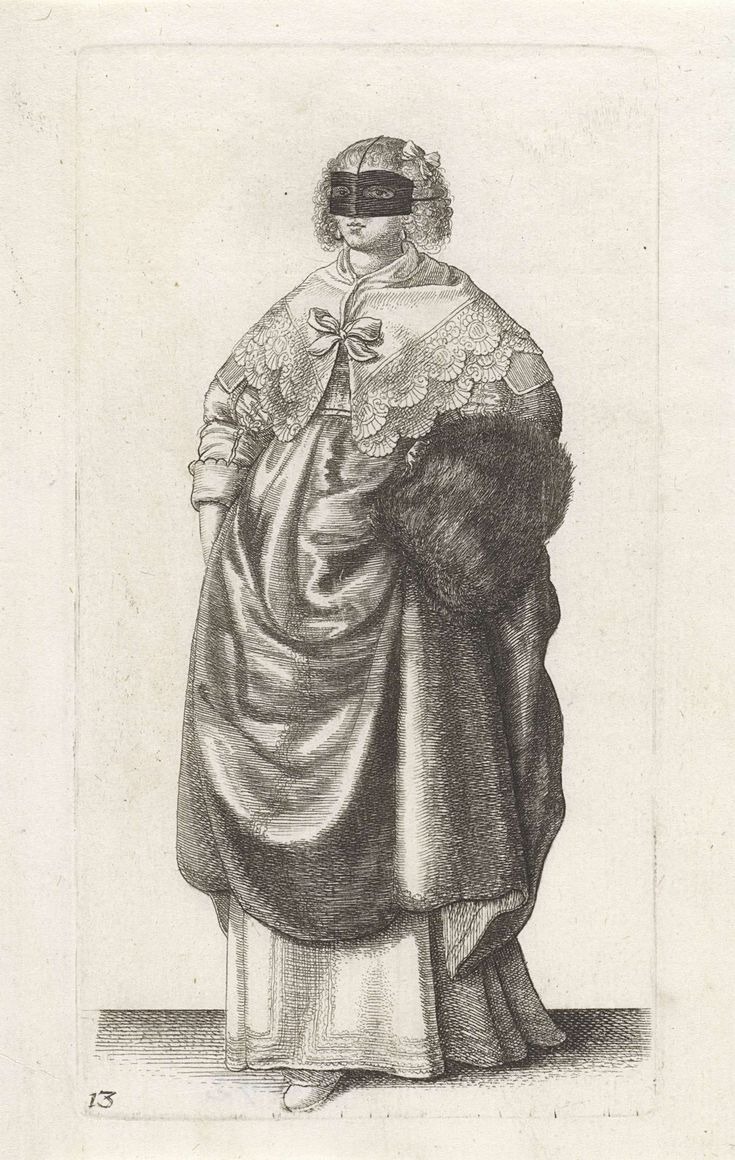 Wenceslaus Hollar   Engelse vrouw van stand met maskertje voor het gezicht, Wenceslaus Hollar, 1638 - 1640   Engelse dame, van voren gezien, met het haar strak naar achteren gekamd maar op het voorhoofd en vanaf de slapen hangende, gefriseerde krullen, waarin een strik. Zij heeft een zwart stoffen maskertje voor het gezicht dat met koordjes over het hoofd is bevestigd. Hoog gesloten halsdoek met geschulpte rand die over de schouders valt en middenvoor gesloten wordt met een strik. Gekleed in…
