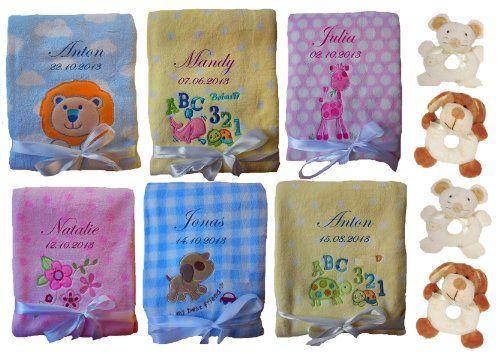 Babydecke mit Namen bestickt inkl. Rassel  http://www.geschenkewebshop.info/produkt/babydecke-mit-namen-bestickt-inkl-rassel/