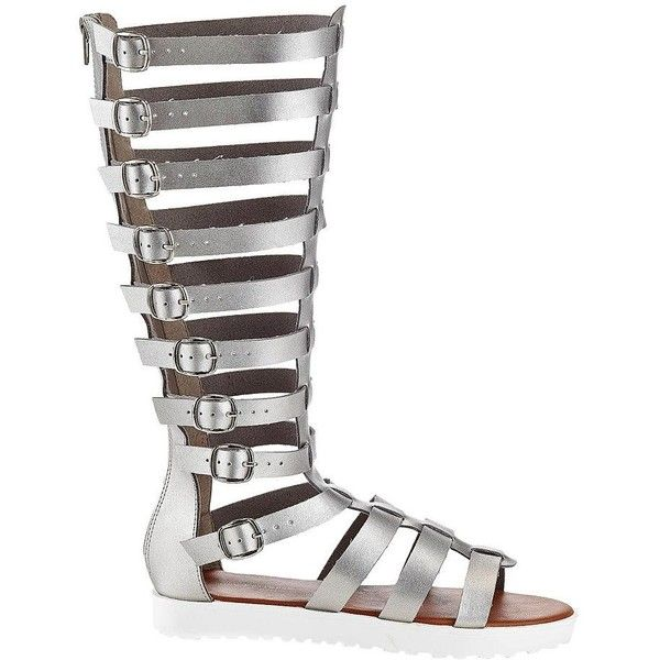 Henry Ferrera HF Women's Gladiator Sandals ($55) ❤ liked on Polyvore featuring shoes, sandals, silver, open toe gladiator sandals, tall sandals, strappy platform sandals, platform sandals and roman sandals