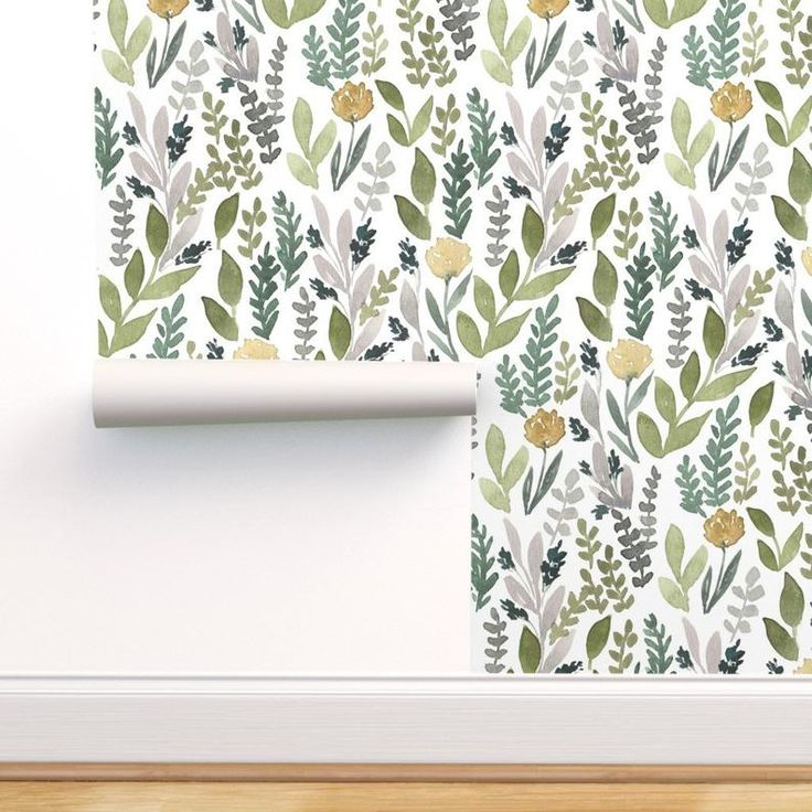 Leaves Wallpaper Spring Leaves By Bluebirdcoop Green Etsy In 2021 Leaf Wallpaper Removable Wallpaper Green Leaf Wallpaper